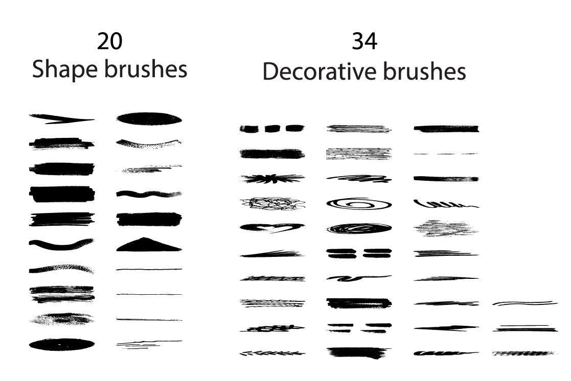 Superpack: 91 ink brushes