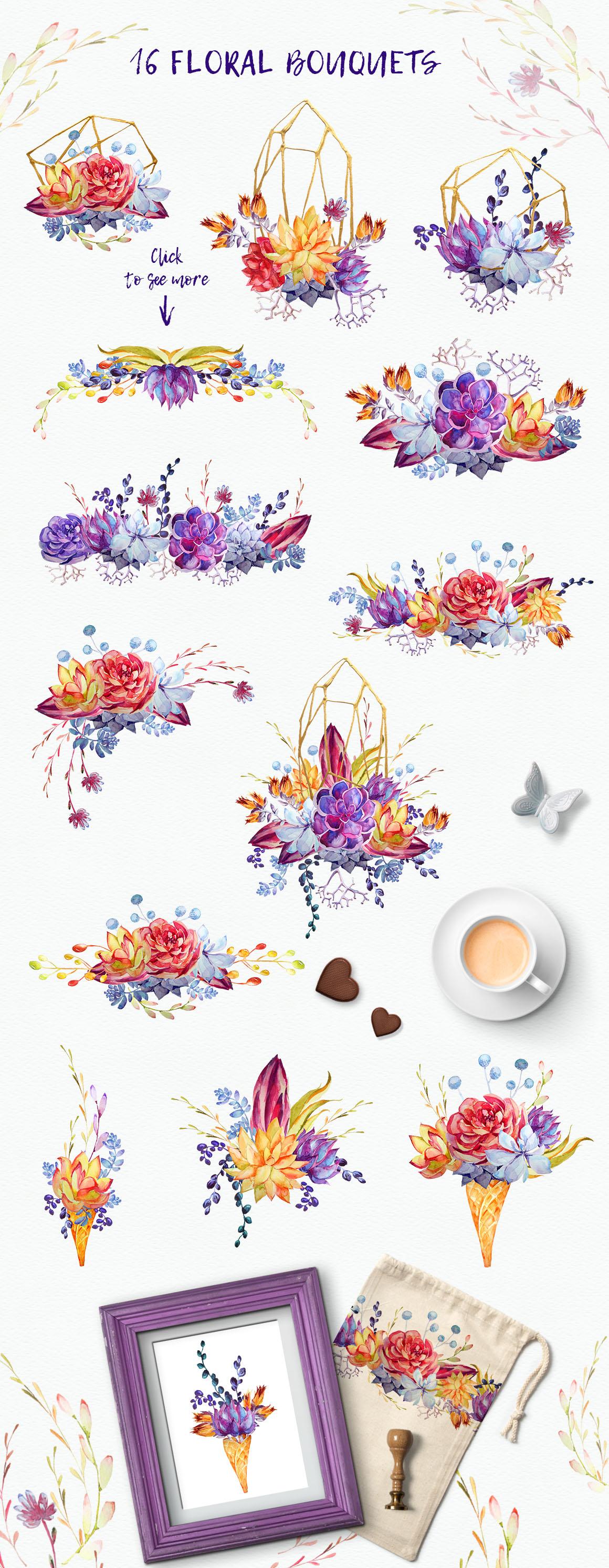 Watercolor Succulents Clipart + PSD