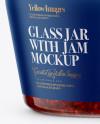 Glass Jar with Raspberry Jam Mockup