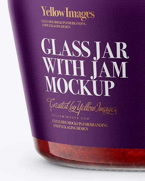 Glass Jar with Strawberry Jam Mockup