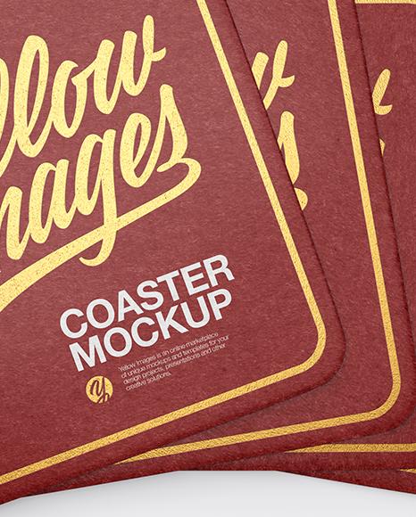 Paper Beverage Coasters Mockup - Top View