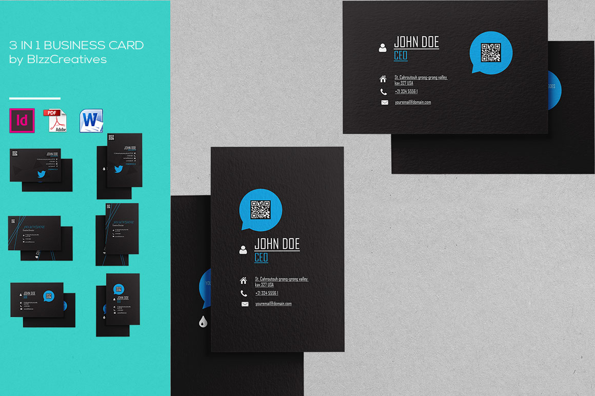 3 In 1 Simple Business Card