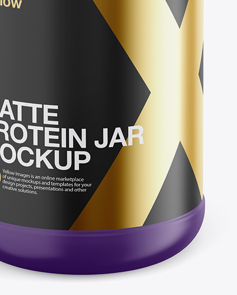 Matte Plastic Protein Jar Mockup - Front View (High-Angle Shot)