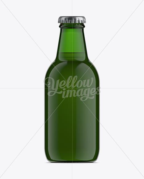 25cl Stubby Green Glass Bottle Mockup