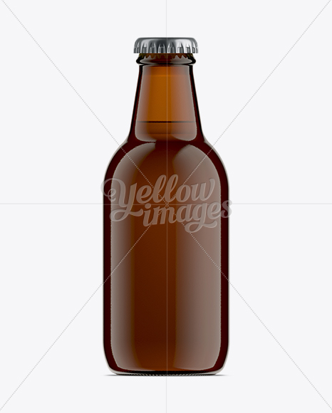 25cl Stubby Amber Glass Beer Bottle Mockup