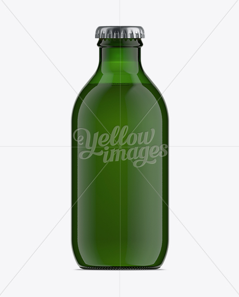 25cl Stubby Green Glass Beer Bottle Mockup