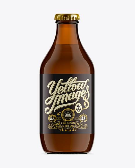 330ml Stubby Amber Bottle Mock-Up