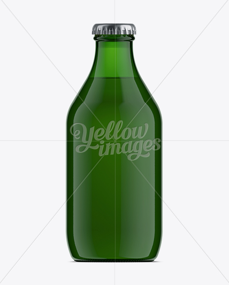 330ml Stubby Green Glass Beer Bottle Mock-up