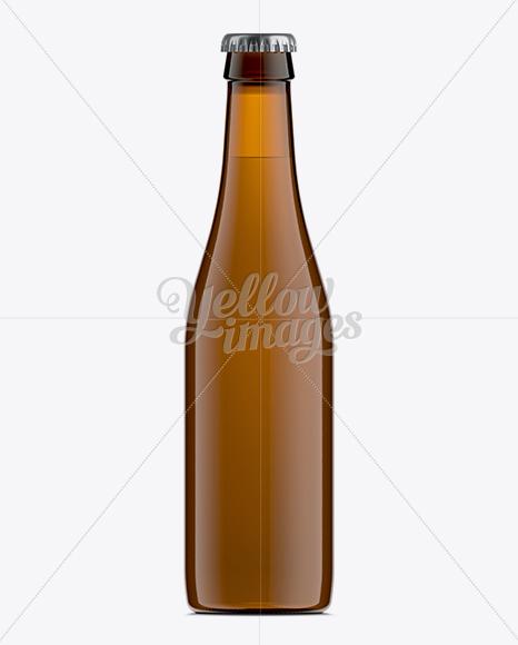 330ml Vihsy Amber Bottle For Beer Mockup
