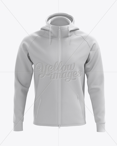 Hoodie with Zipper Mockup - Front View