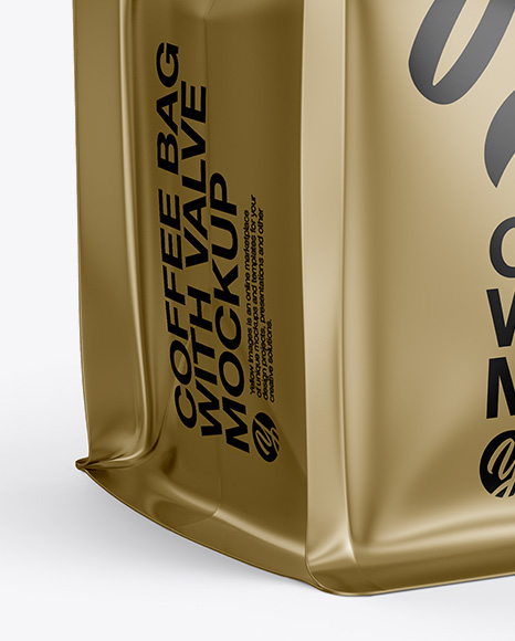 Download Matte Coffee Bag With Valve Mockup Halfside View PSD - Free PSD Mockup Templates