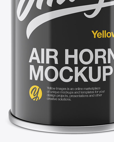 Portable Air Horn Glossy Can Mockup - Half Side View