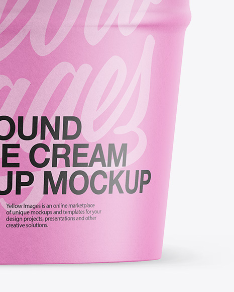 Paper Ice Cream Cup Mockup - Front View