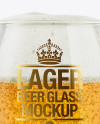 Snifter Glass With Lager Beer Mockup