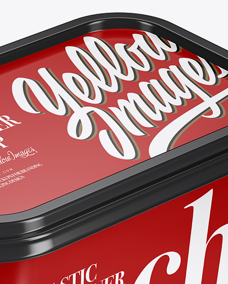 Glossy Plastic Container Mockup - Half Side View
