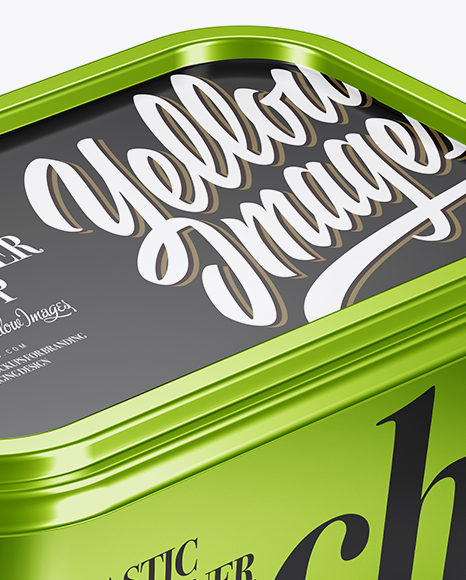 Metallic Container Mockup - Half Side View