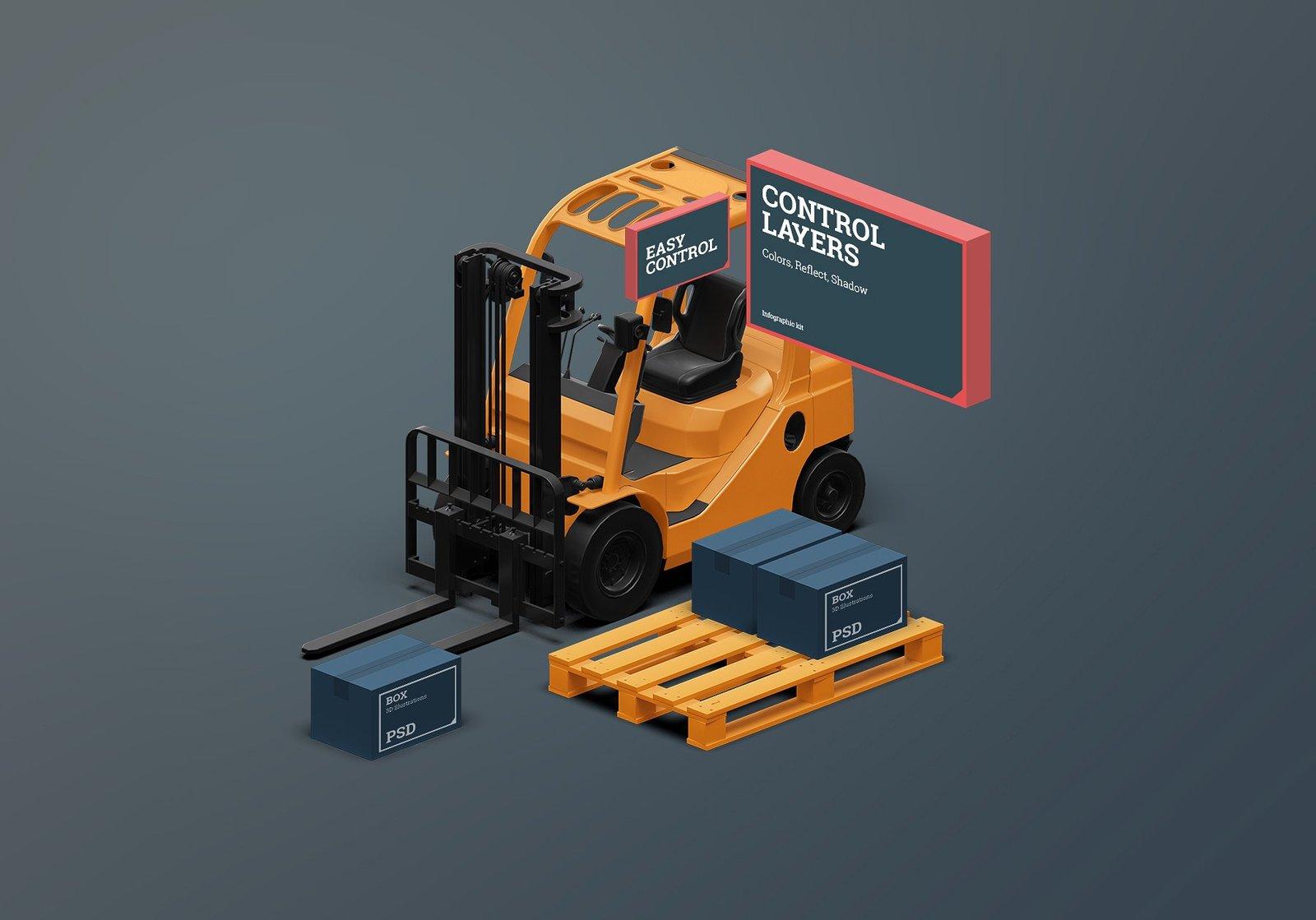 Isometric scene creator kit: Logistic
