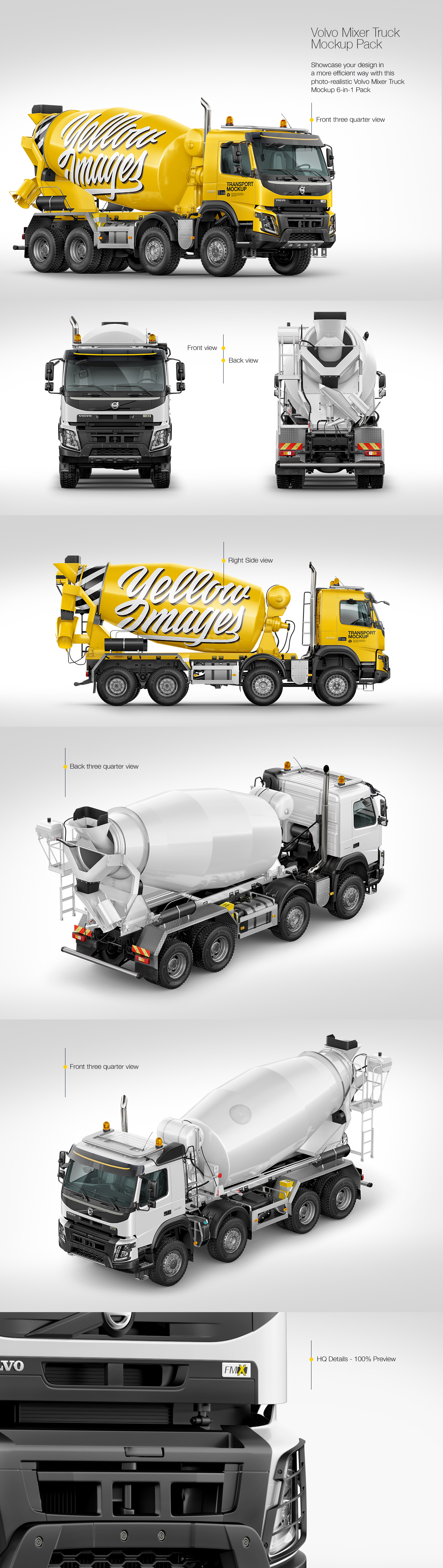 Cement Mixer Truck Mockup Pack