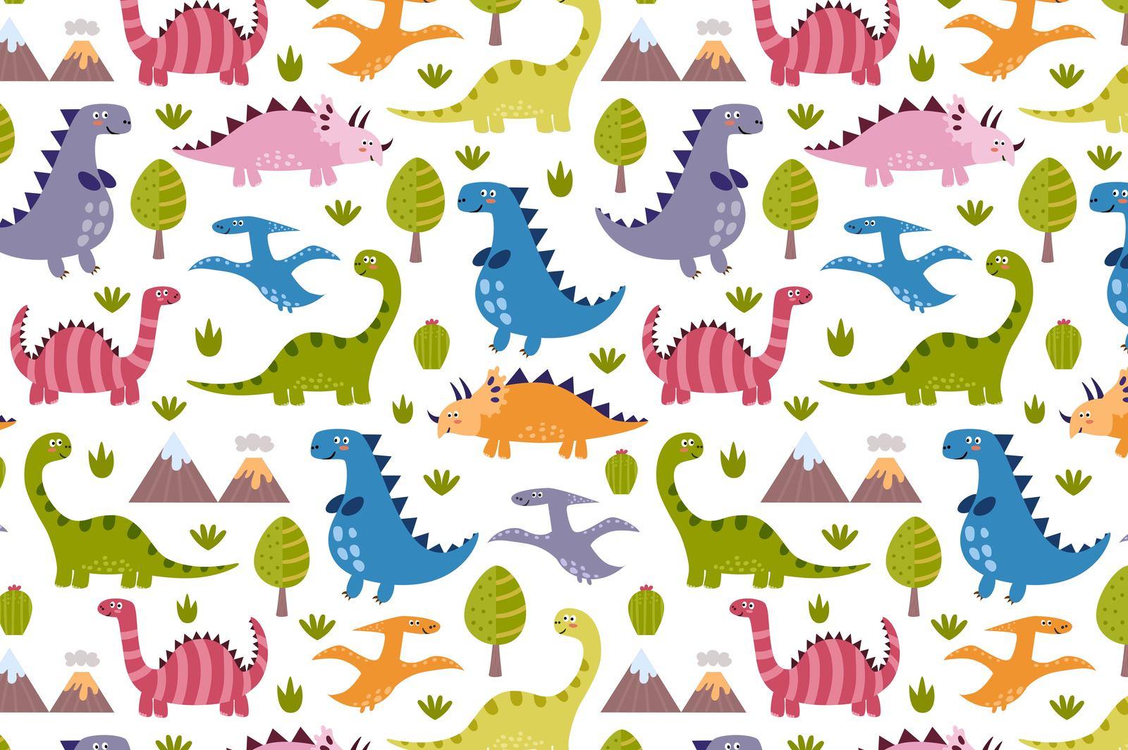 Cute Dinos: seamless pattern & cute labels