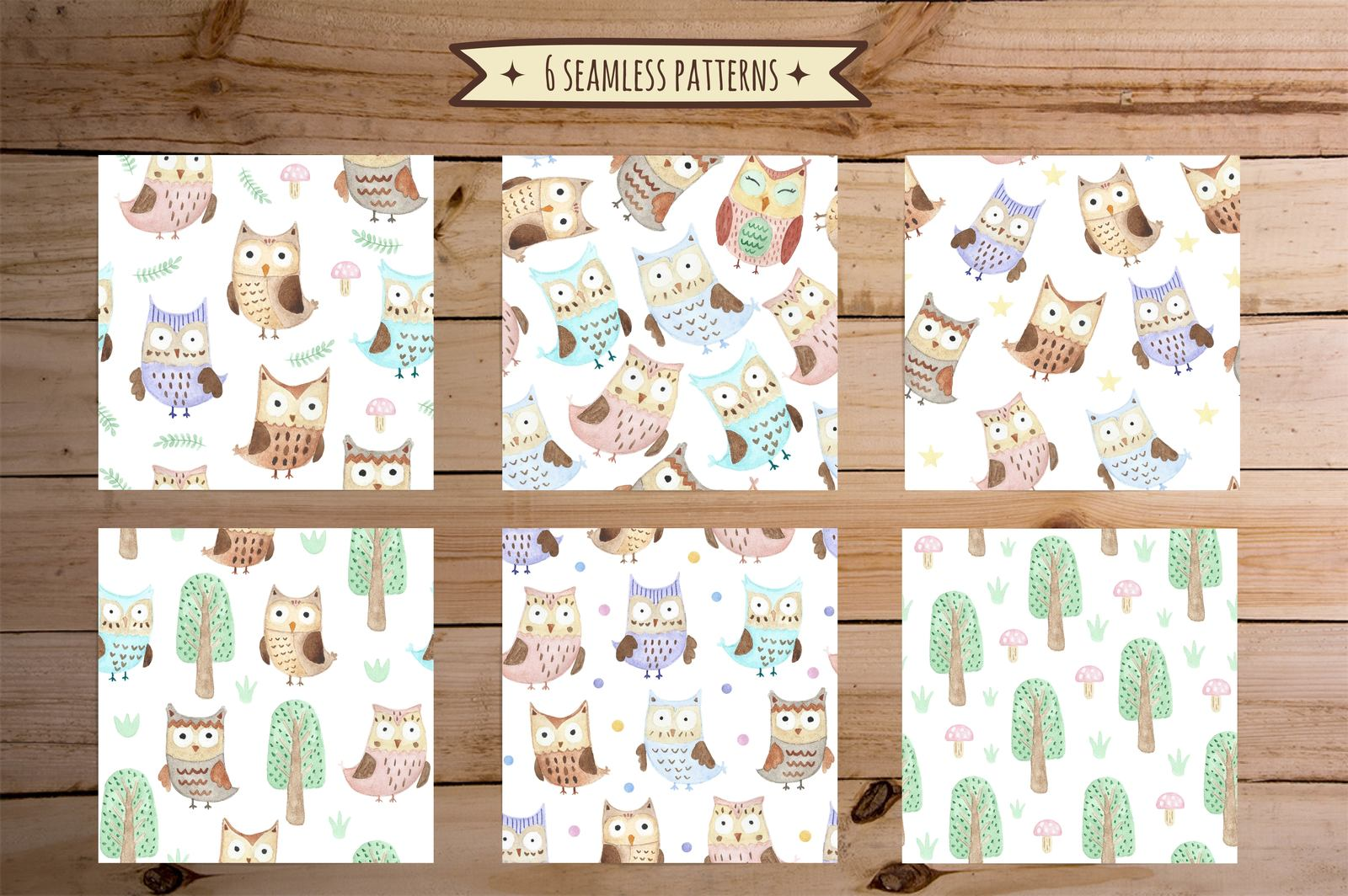 Watercolor Owls: patterns & cards