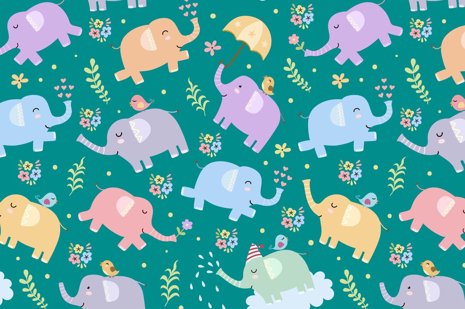 Elephants: seamless patterns & clipart