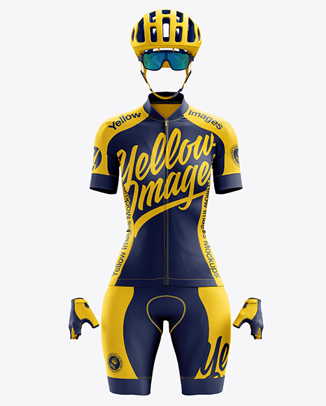 Women's Full Cycling Kit mockup (Front View)