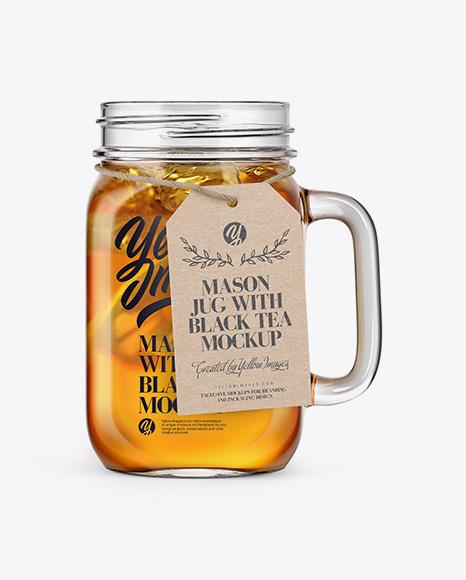 Opened Mason Jug with Tea Mockup - Front View