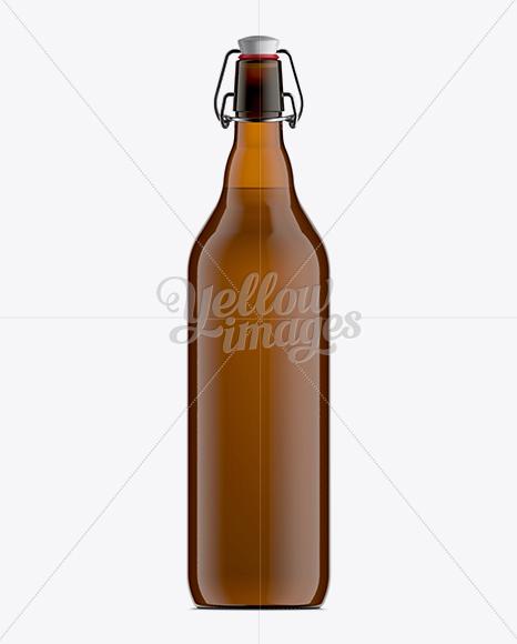 100cl Amber Glass Beugel Bottle Mockup