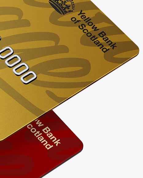 Matte Plastic and Metallic Credit Cards Mockup - Half Side View