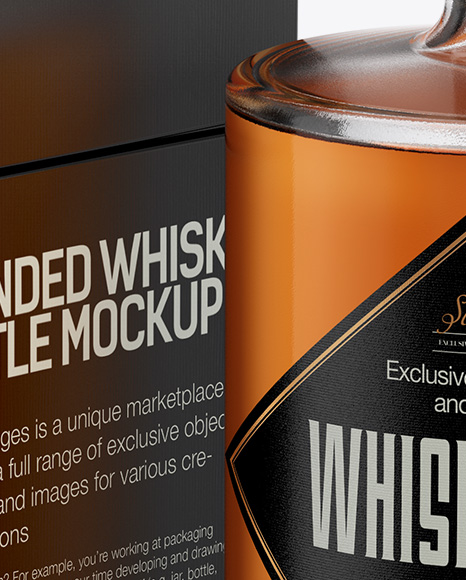 Clear Glass Whiskey Bottle &  Box Mockup - Half Side View