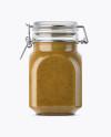 900ml Mustard Sauce Glass Jar w/ Clamp Lid Mockup