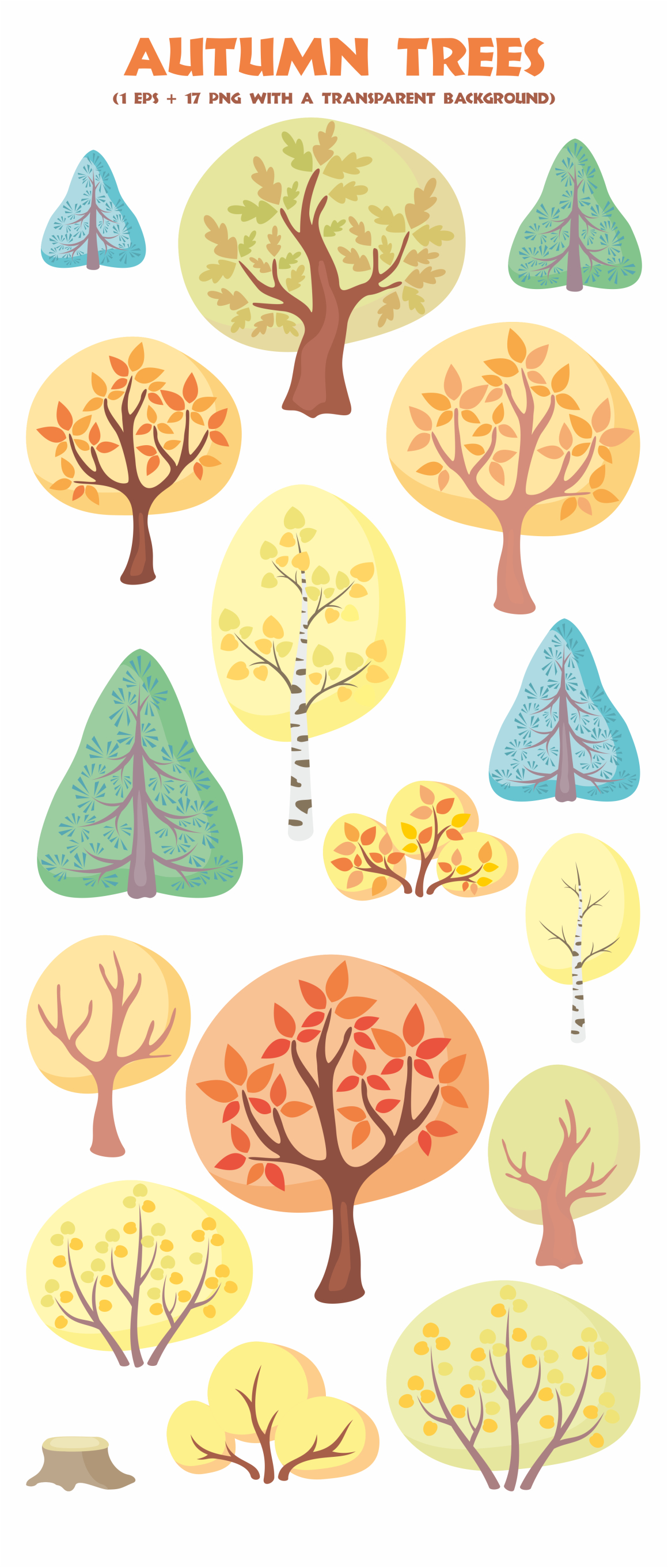Autumn forest. Cute animals and plants.