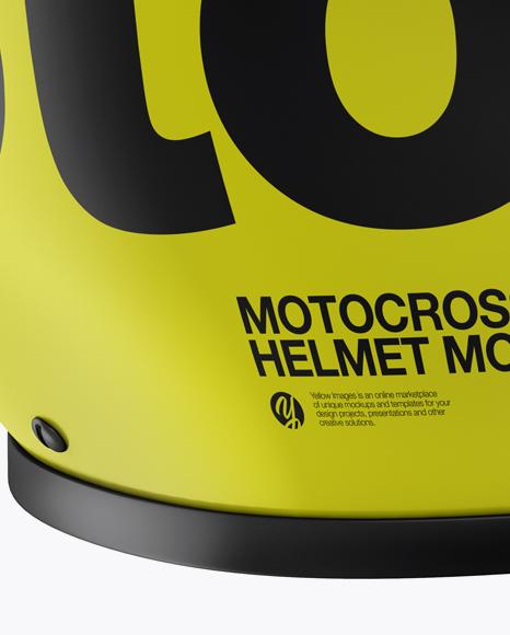 Motocross Helmet Mockup - Back Half Side View