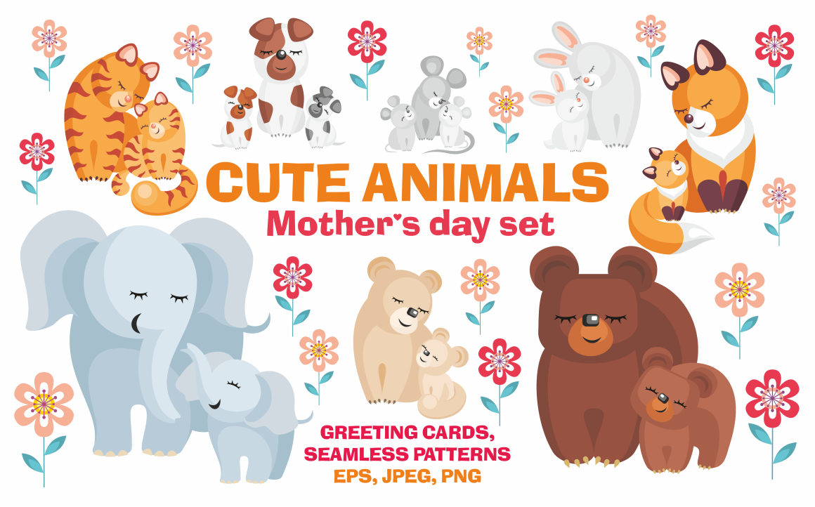 Cute animals. Mother's Day set.