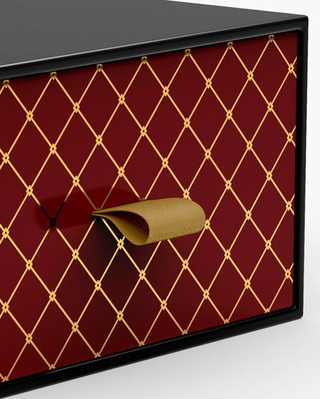 Glossy Gift Box Mockup - Half Side View