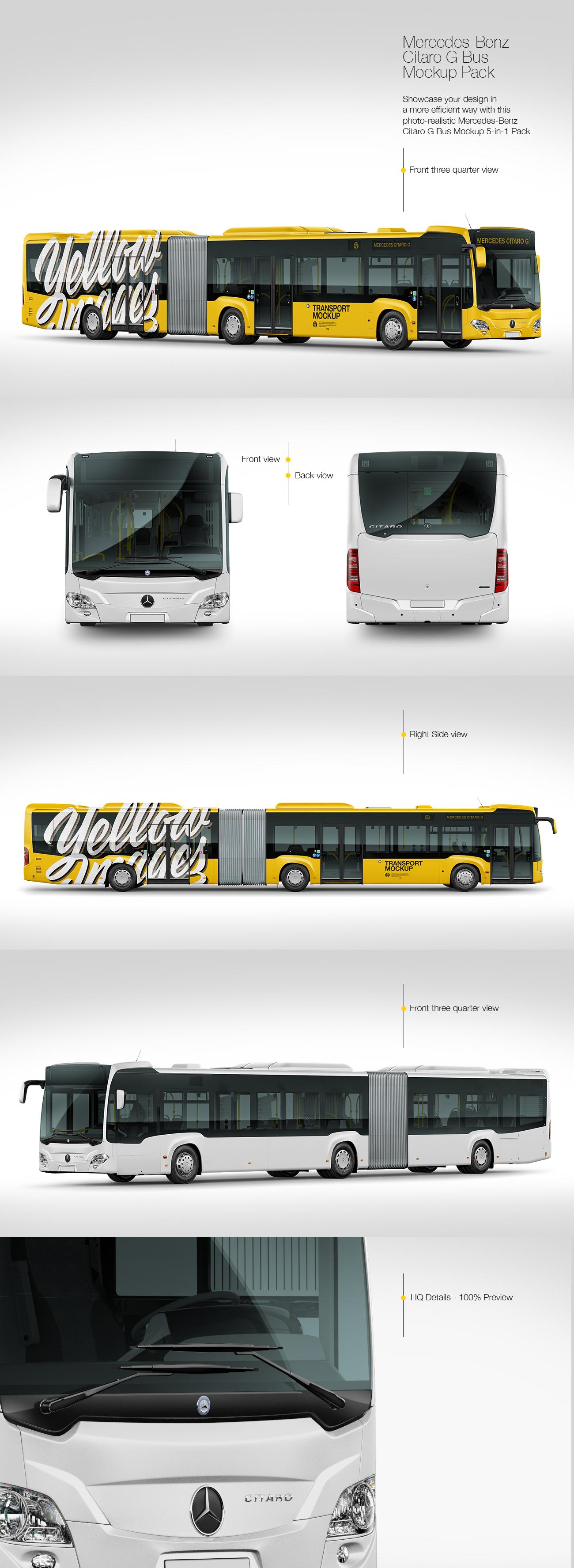 Mercedes-Benz Citaro G Bus Mockup Pack