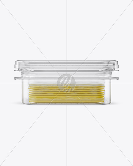 Transparent Container with Wrapped Sliced Cheese Packs Mockup - Front, Side & Top Views