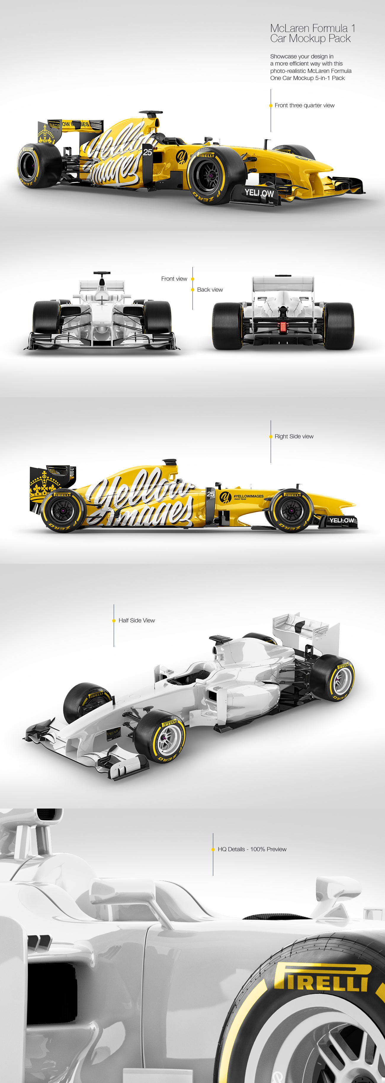 Download Mclaren Formula 1 Mockup Pack In Handpicked Sets Of Vehicles On Yellow Images Creative Store PSD Mockup Templates