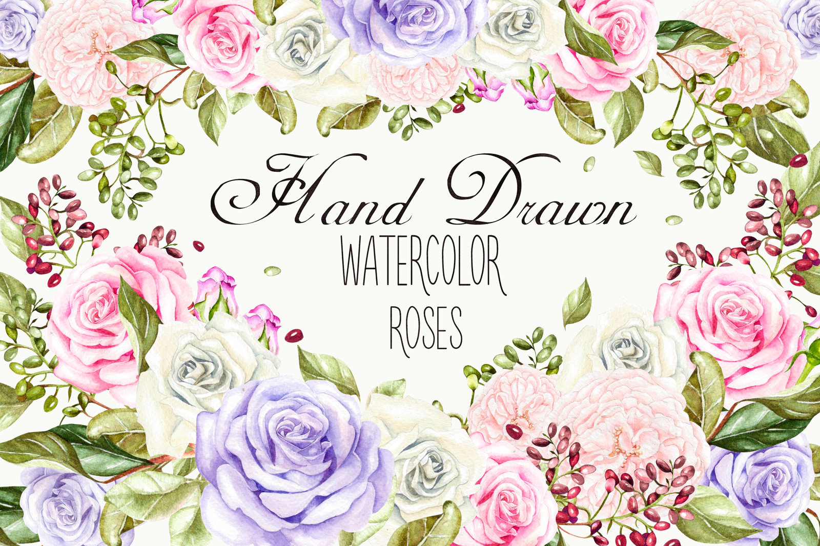 Hand drawn watercolor ROSES 3