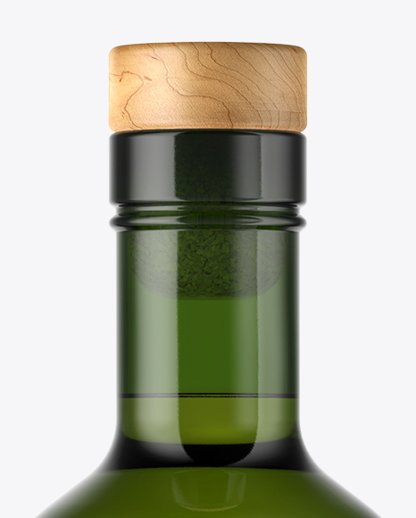 Green Glass Whisky Bottle with Wooden Cap Mockup