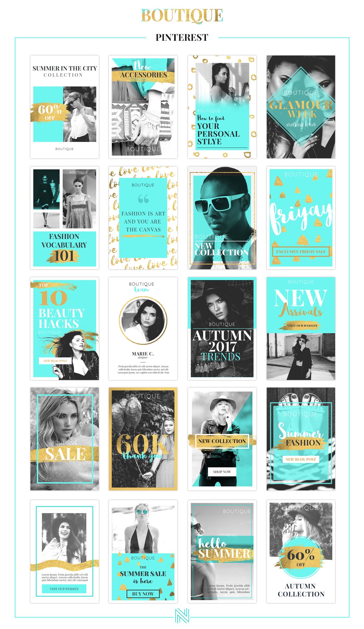 boutique social media pack in social media templates on yellow images creative store