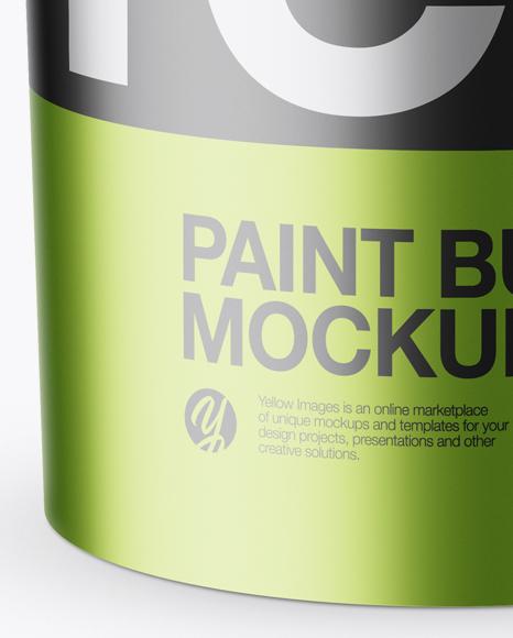Metallic Paint Bucket Mockup (High-Angle Shot)