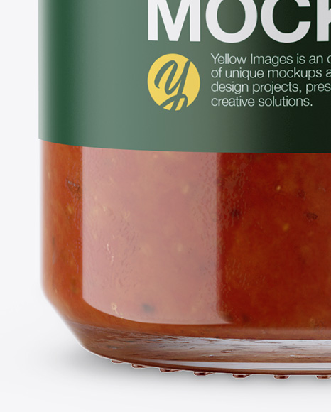 Glass Tomato Sauce Bottle Mockup