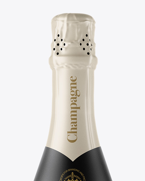 Frosted Glass Champagne Bottle Mockup