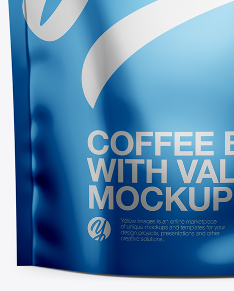 Matte Metallic Coffee Bag W/ Valve Mockup - Front View