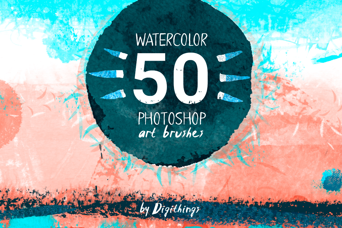 Watercolor art brushes for Photoshop