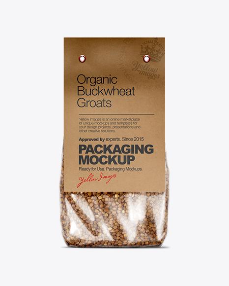 Clear Plastic Bag with Kraft/Black Carton Label Mockup