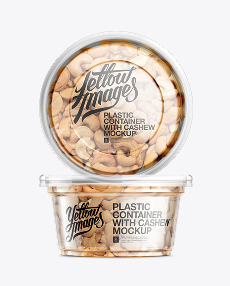 200g Clear Plastic Food Container w/ Cashew Mockup