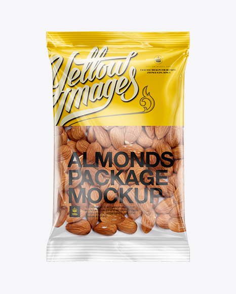Clear Plastic Pack w/ Almonds Mockup