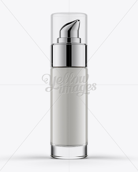 30ml Cosmetic Bottle w/ Chrome Dispenser Pump Mockup